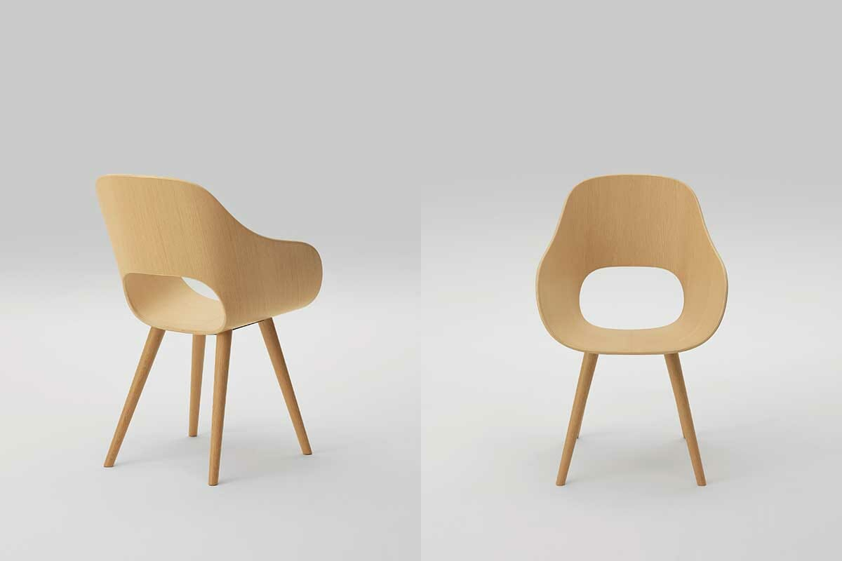 深澤直人さんのデザインによる新作「Roundish」、(提供:株式会社マルニ木工、写真:川部米応)