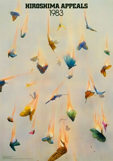 「ヒロシマ・アピールズ」ポスター第1作「燃え落ちる蝶」亀倉雄策(1983年)