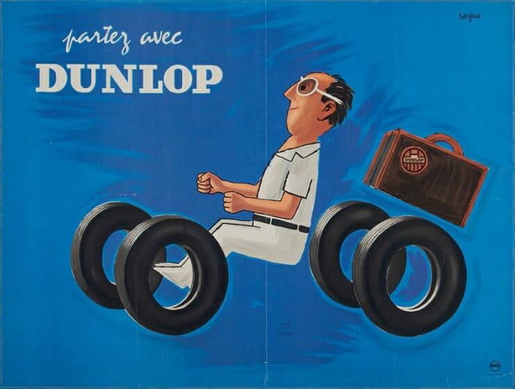 《ダンロップタイヤで出発》 1953 年 ポスター(リトグラフ、紙) パリ市フォルネー図書館蔵  ©Annie Charpentier 2018