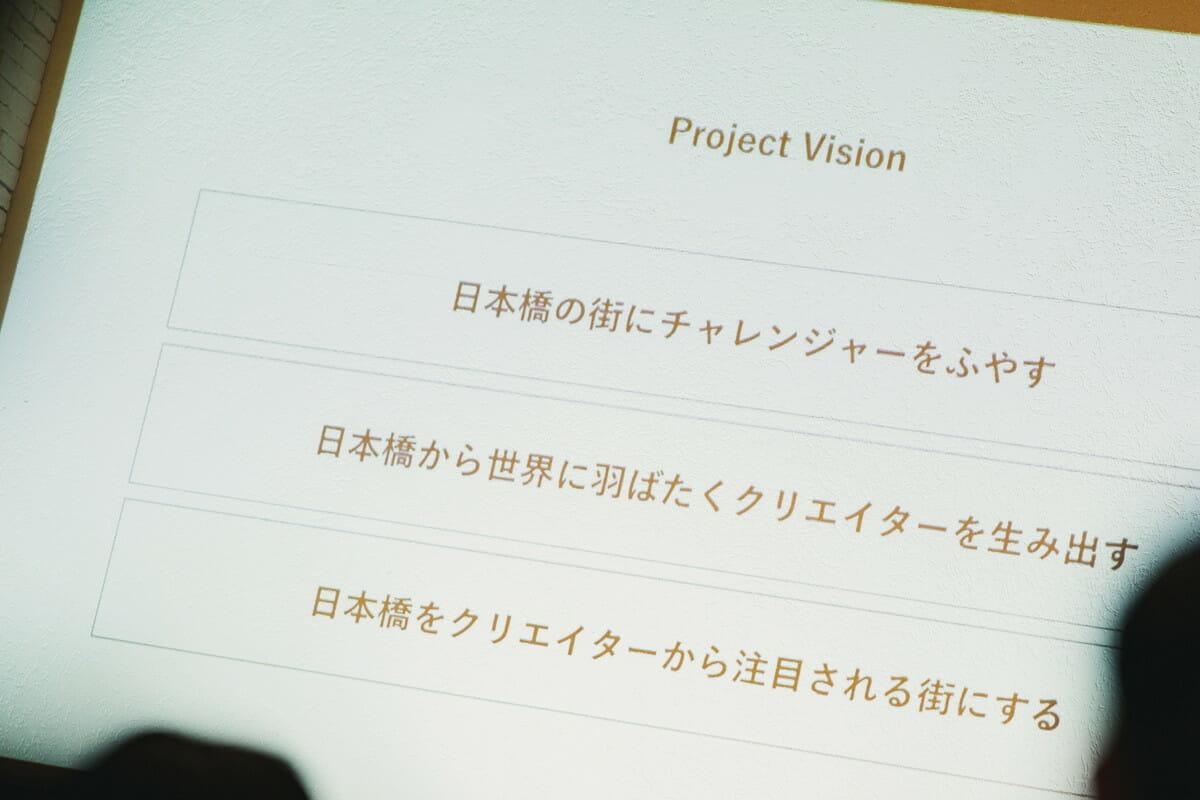 「nihonbashi β」ローンチイベント 会場のスクリーンを写した画像
