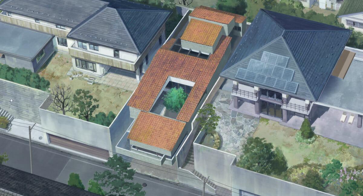 オレンジ色の屋根が主人公の住む家