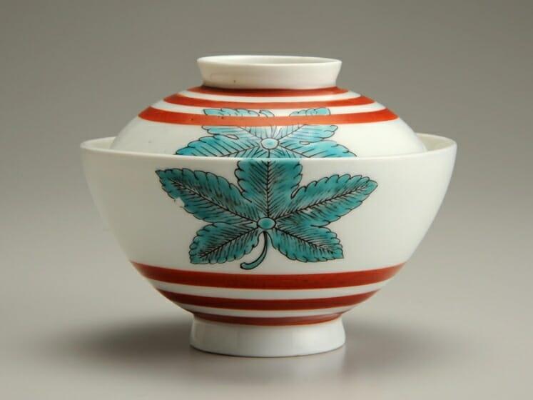 色絵圏線楓文蓋付碗 19世紀初期