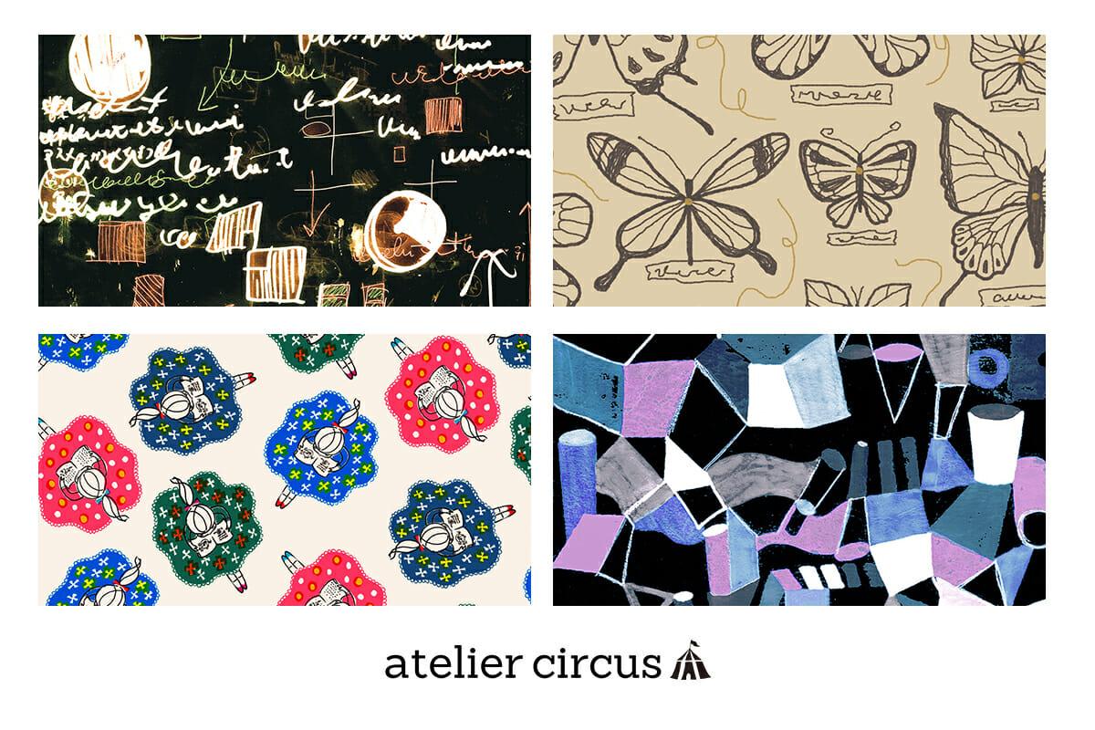 "「merlot」が主催するコンペサイト「アトリエサーカス」。同サイトでは定期的に複数のコンペを行い、作品を募集し入賞した作品はmerlotで商品化・販売される。画像は実際に同サイトのコンペ「アカデミア」にて採用された4作品 <a href=""https://www.ateliercircus.com/"" rel=""noopener"" target=""_blank"">https://www.ateliercircus.com/</a>"