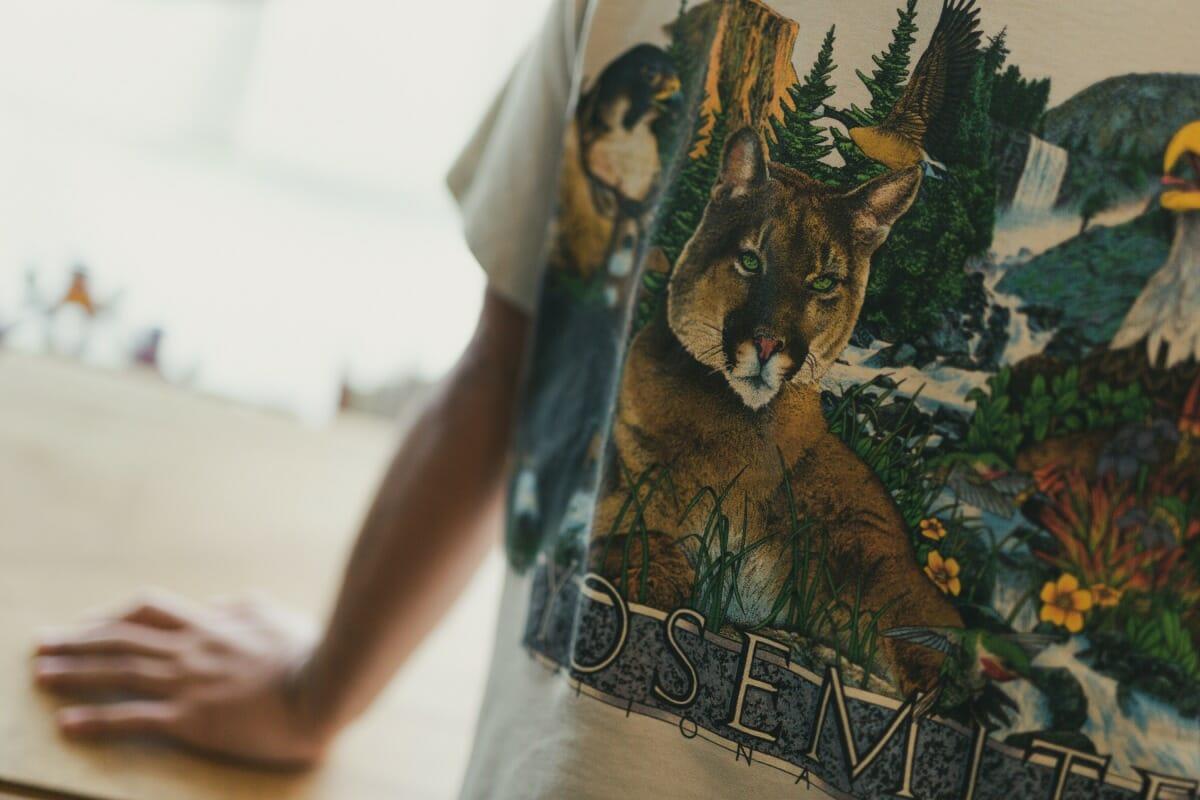 この日も動物Tシャツを着用