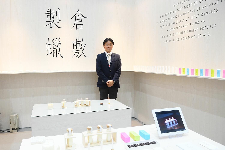 ペガサスキャンドル株式会社 野村謙太さん。今回のブースのディレクションも、居山浩二さんが担当したそうです