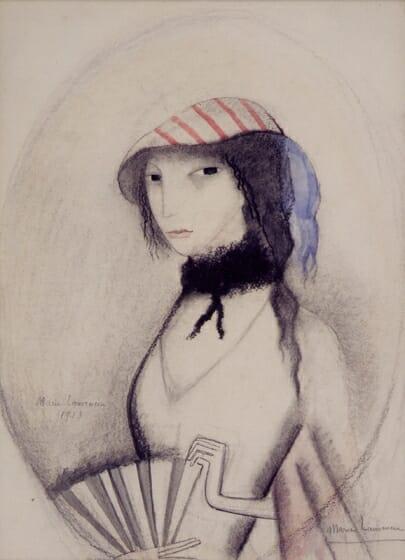 マリー・ローランサン《扇を持つ若い女》1913年、水彩・紙