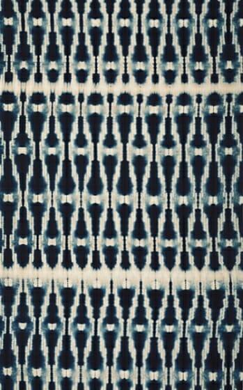 木綿地藍染立涌絣紋折縫絞広巾 1971年