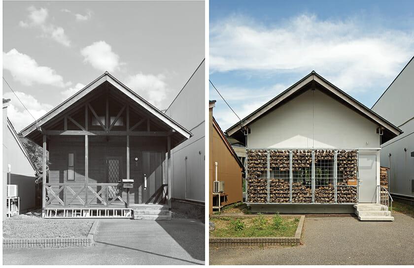 物件「薪のゲストハウス」左:改修前 右:改修後