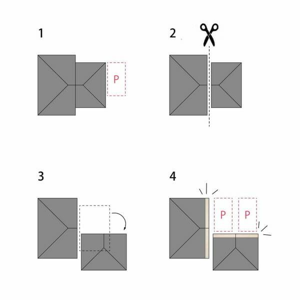 「だぶるすきんの家」建物の配置を説明する図