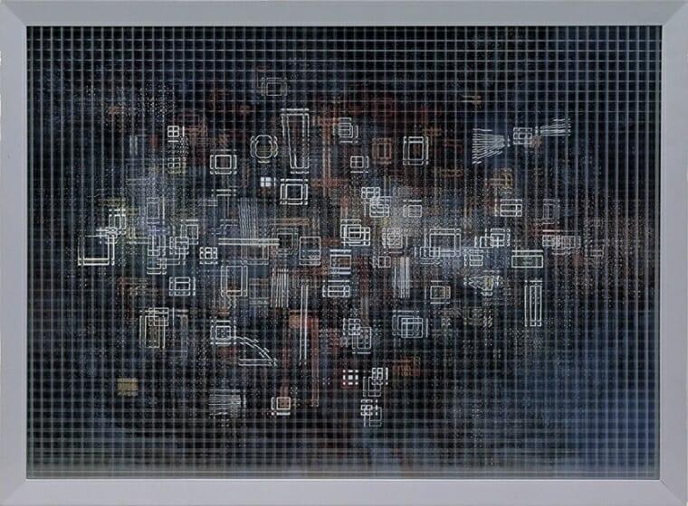 山口勝弘《ヴィトリーヌ 海のシンフォネット》1957年 モール・ガラス、ガラス、油絵具、塗料、紙、合板 62.5×84.3×9.8cm DIC川村記念美術館
