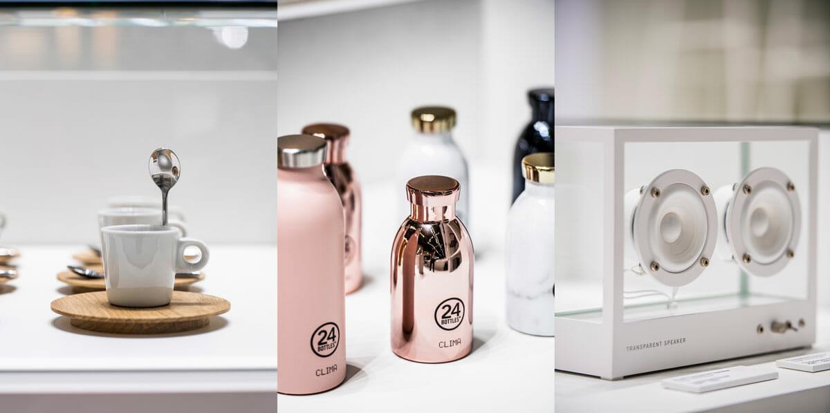 ©AETHION<br /> 「はたらく」という文脈で、コーヒーカップやマイボトル、スピーカーが紹介されているのもおもしろい。左からチェコのブランド「Clap design」、イタリアの「24 Bottles®︎」、スウェーデンの「URBANEARS」。