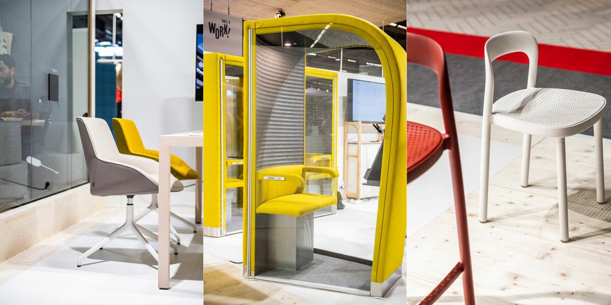 ©AETHION<br /> 「WORK!」の展示ブース周辺には、コンテポラリーからデザイナーズまでの注目のブランドを紹介する「TODAY」のエリアがあり、オフィス家具メーカーによるカラフルなファニチャーを紹介するブースが並んでいた。左からスペインの「ACTIU」のチェア、フィンランドの「EVAVAARA」の作業に集中するためのパーソナルスペース、シンガポール「INDUSTRY+」のチェア。