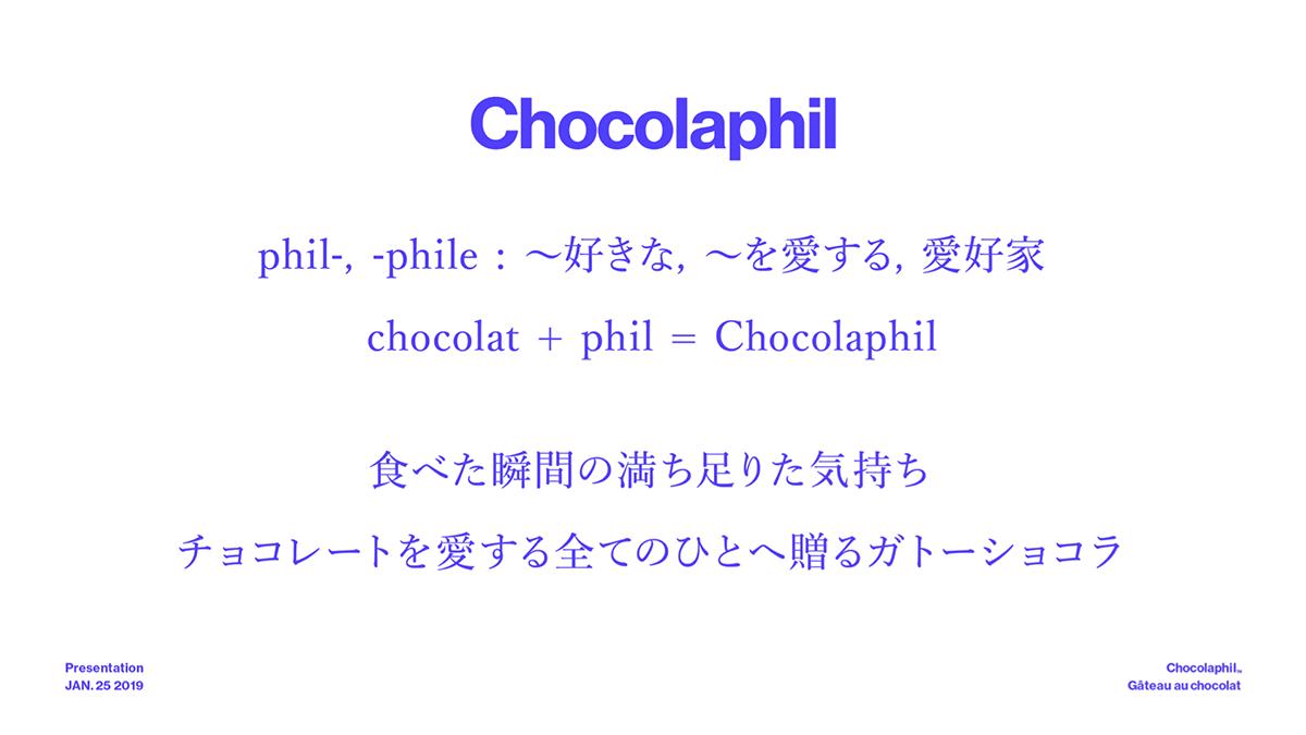 「Chocolaphil」のブランドコンセプトを表す資料