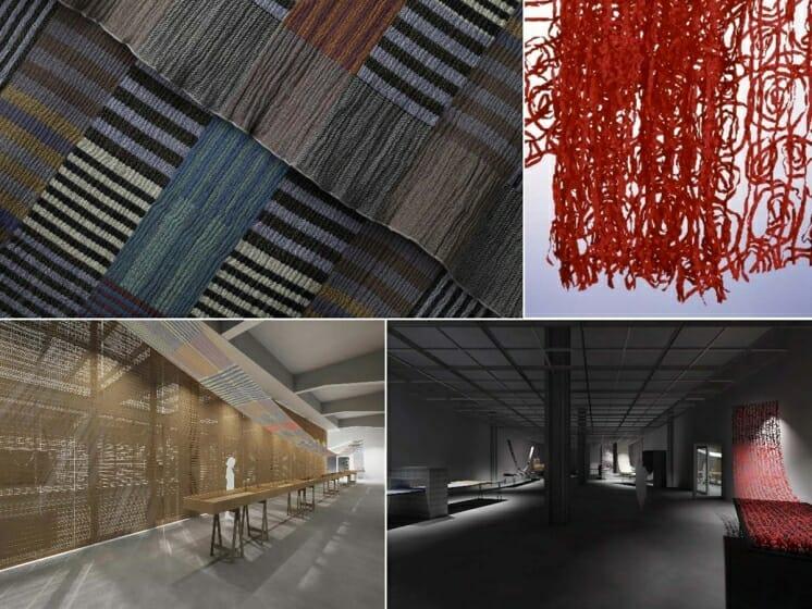 [上段]須藤玲子 左《Colour Plate》1997年, 右《Paper Roll》2002年, 画像提供:須藤玲子/NUNO, 東京 撮影:Sue McNab [下段]本展の展示プラン ©Tashiro Masafumi Design Room
