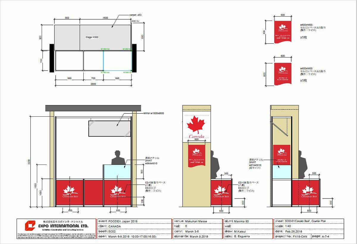 FOODEX JAPAN カナダのパビリオン(図面)