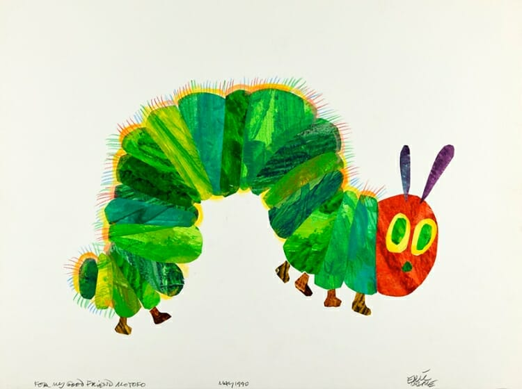 エリック・カール『はらぺこあおむし』イラストレーション 1990年 Collection of Eric and Barbara Carle, Courtesy of The Eric Carle Museum of Picture Book Art, Amherst, Massachusetts. © 1969, 1987 Eric Carle.