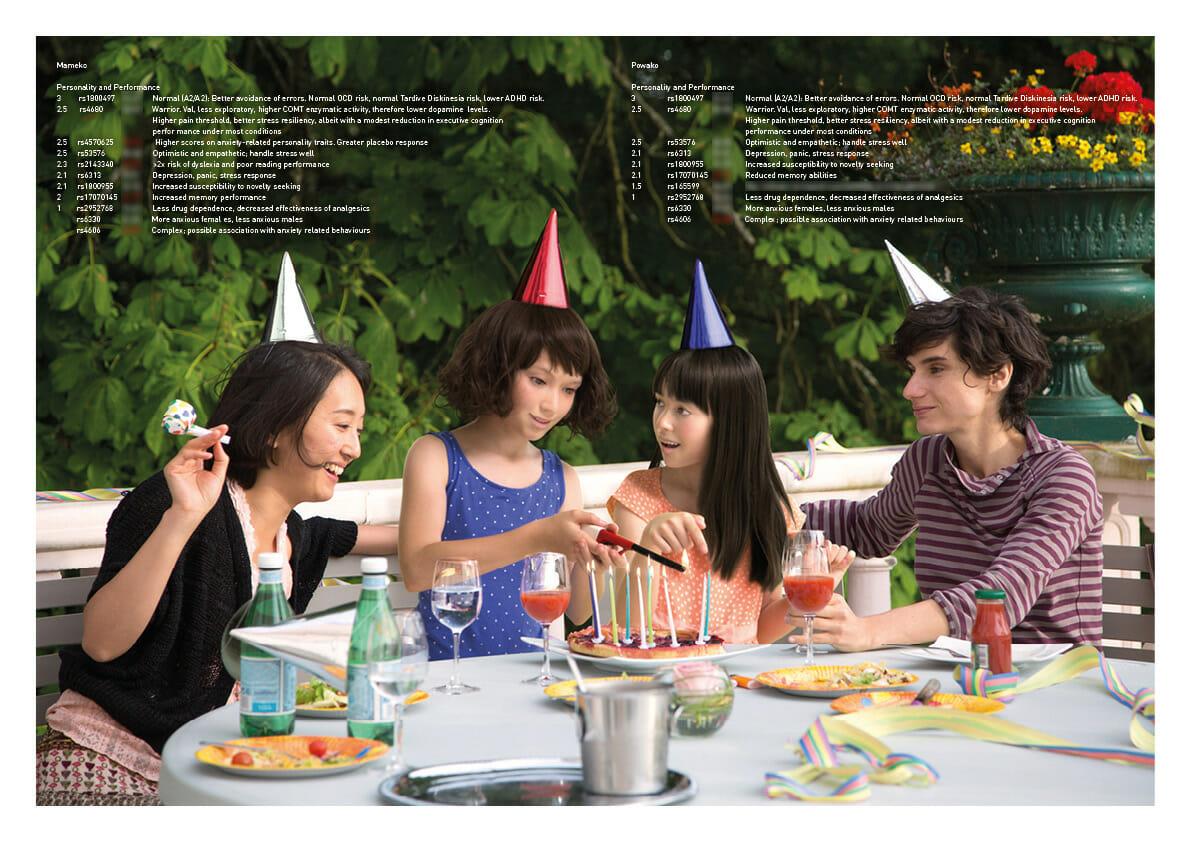 第19回に優秀賞を受賞した「(IM)POSSIBLE BABY, CASE 01: ASAKO & MORIGA」。実在する同性カップルの一部の遺伝情報からできうる子どもの遺伝データを生成し、それをもとに「家族写真」を制作した作品。©️Ai Hasegawa