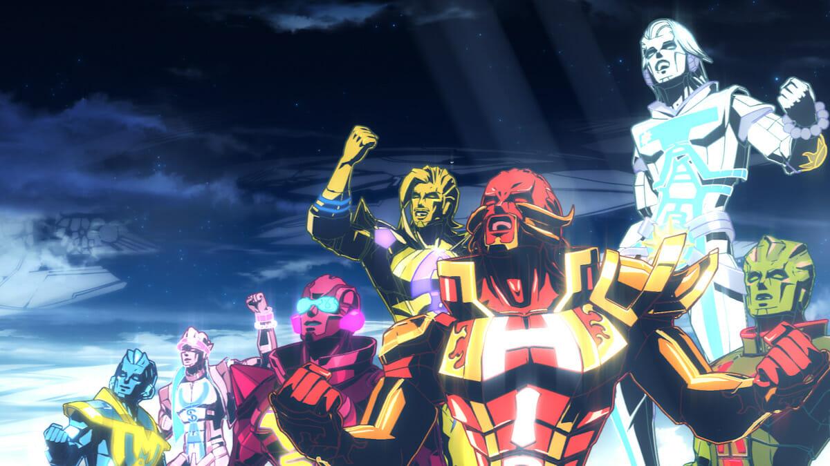"""第16回審査委員会推薦作品に選ばれたMV「EXILE """"BOW&ARROWS""""」。EXILEのライヴ映像にエフェクトを加筆した「ライヴアニメーションパート」、異世界でのキャラクターの戦いを描いた「キャラクターアニメーションパート」、キャラクターとメンバーがともにダンスをする「ハイブリッドパート」の3つの構成からなり、ラストは全員が揃って大団円を迎える。©︎2012 avex entertainment Inc."""