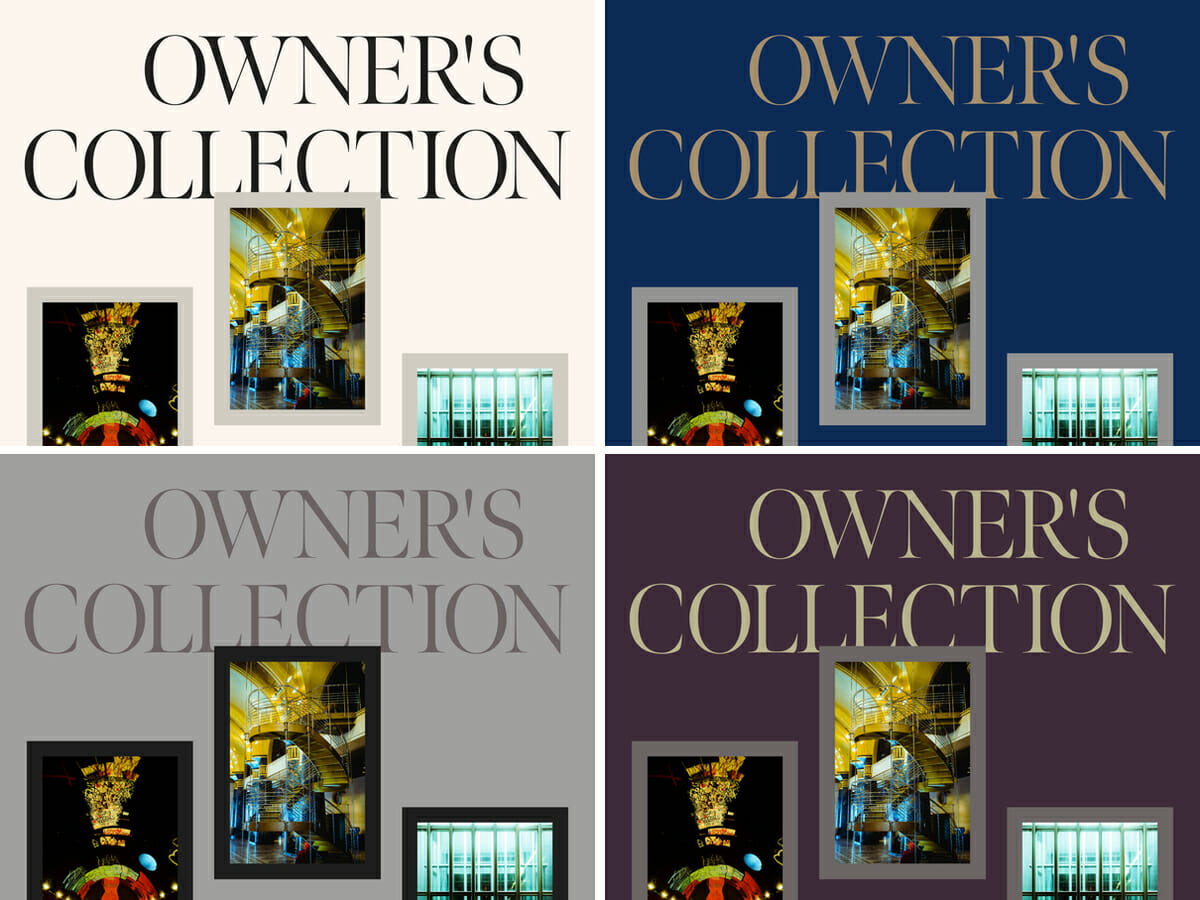 川久ミュージアムWebサイトの4種類のカラースキームに変化する画像