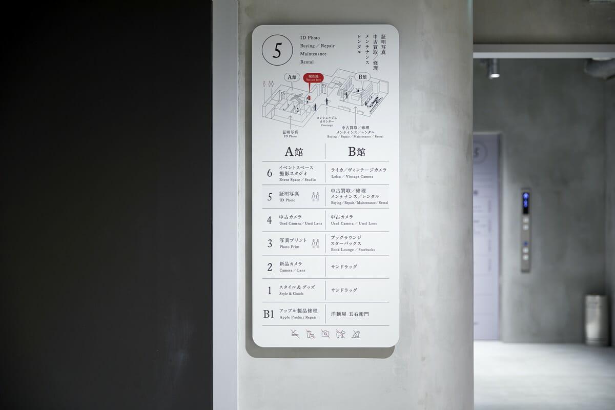 新宿 北村写真機店 立体マップの案内板の画像