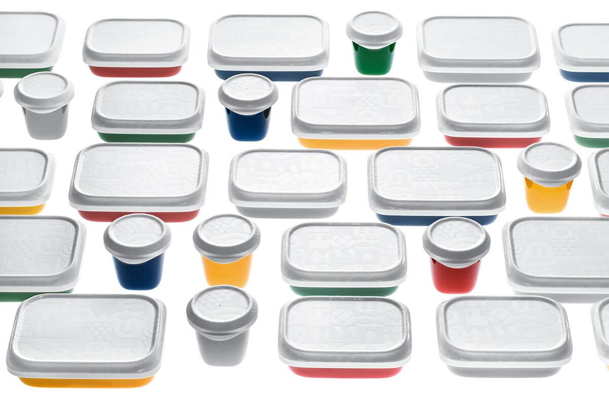 鈴木さんがデザインした給食容器