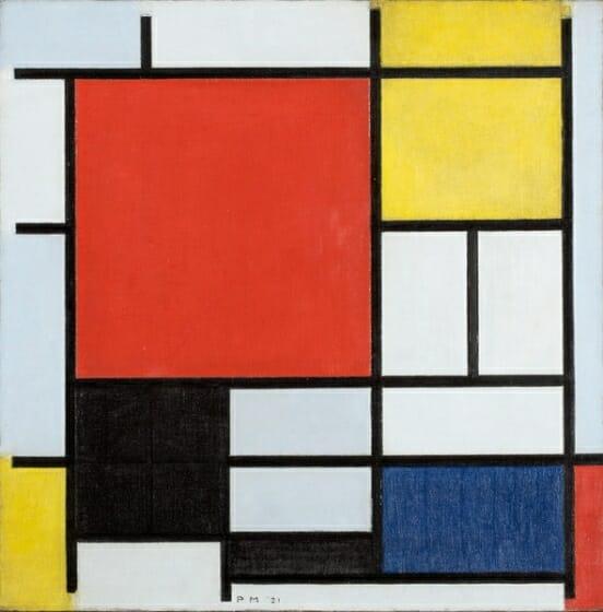 ピ ー ト・モンドリアン 《 大きな赤の色面、黄、黒、灰、青色のコンポジション 》 1921 年 油彩、カンヴァス デン・ハーグ美術館 Kunstmuseum Den Haag※画像の無断転載を禁じます