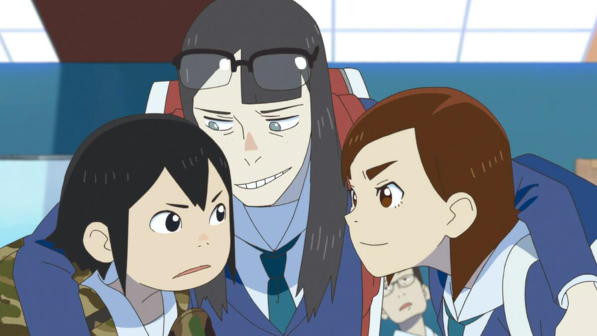 『映像研には手を出すな!』主人公の3人。左から、浅草みどり、金森さやか、水崎ツバメ。©︎ Sumito Oowara,Shogakukan / Eizouken Committee