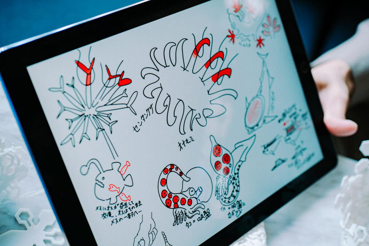 リサーチに際して描き溜めていったという阿部さんのドローイング